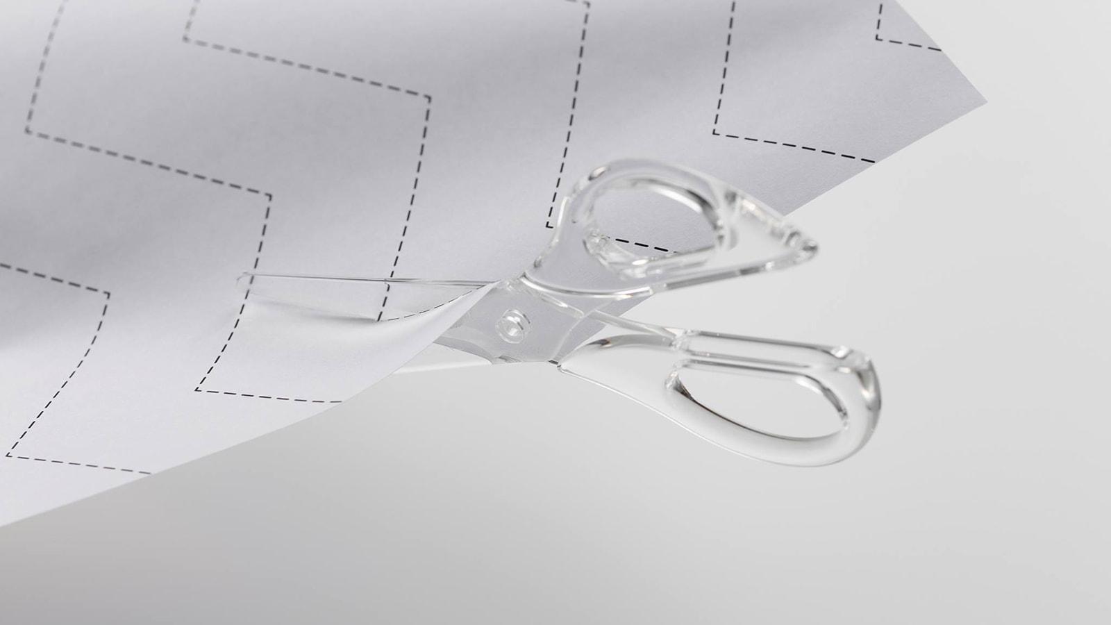 transparente schere