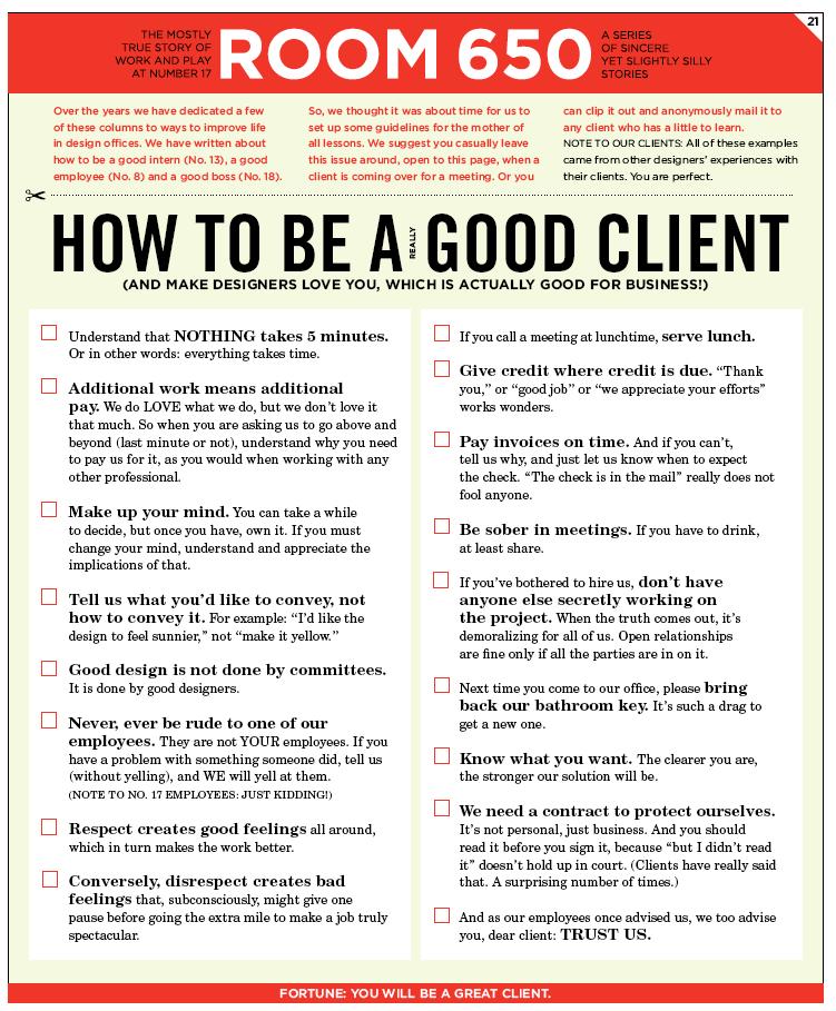 Verhaltensregeln für deine Kunden