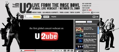 Free U2 tickets on YouTube