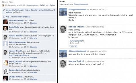 Lüsnerhof Weiterempfehlung Facebook
